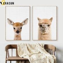 VERASUN Deer Llama Plakáty Dekorativní umění Umělecká reprodukce Canvas Painting Pop Umělecká zvířata Posters Posters Obrazová místnost Quadro