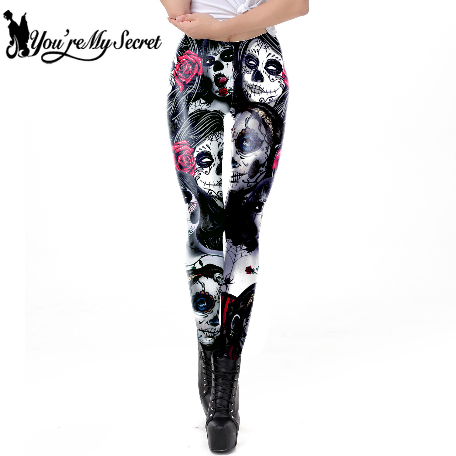 [You're My Secret] 2019 New Arrival The Dead Girl Skull Horrible Scary Fitness Women's Black Printed Legging Female Ankle Pants