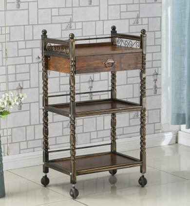 Купить с кэшбэком Retro beauty salon stroller European hair car tattoo barbershop with a drawer, tool and cabinet shelf .