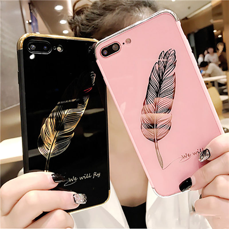 Luxury Quill pen Drop Mirror Pink soft cover case for iphone 6 6S 7 8 plus 7plus 8plus X 10 Fashion feathers phone cases fund
