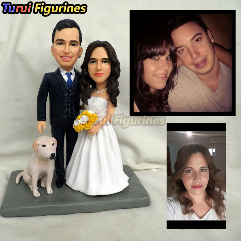 Turui Figurines ooak Custom Wedding Cake Topper with dog initials Heart Date keychain customize dolls