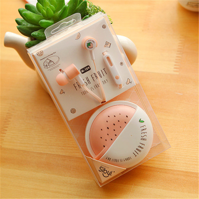 2017 Cute  Earphones Fruit Candy Colorful Stereo 3.5mm in-ear with Microphone for iPhone 5s Lenovo Xiaomi for Girls Kids Gifts