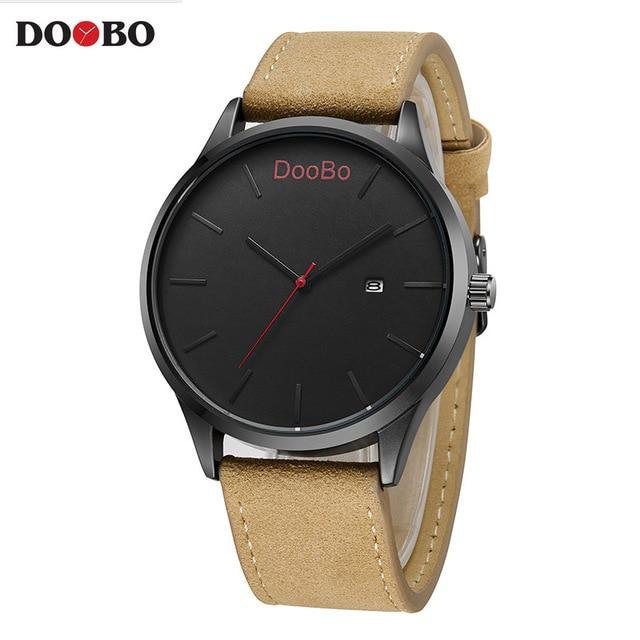 2017 doobo moda casual mens relojes Top marca de lujo de cuero de negocios reloj de cuarzo hombres reloj Relogio Masculino