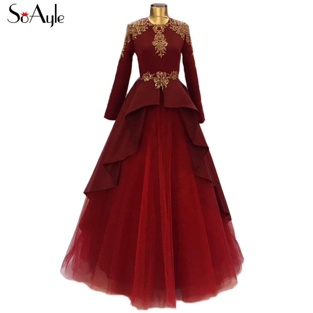 SoAyle Ball Gown 2018 Evening Dresses Dubai Muslim Women s Long Dresses  Burgundy Formal Gowns for Prom d719b55fd10b