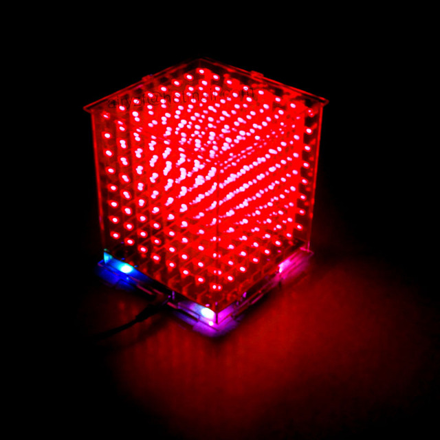 DIY 3D8  mini cubeeds LED DIY KIT excellent animation / 8x8x8 Kits/Junior,3D red LED Display,Christmas Gift ,high quality