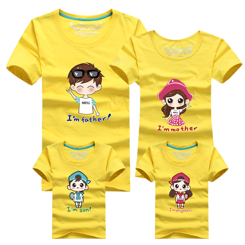 1 pc 95% Cotton Shirt for Family Father Shirt Matching Family Clothes Men Women Kids Large T-Shirts 4xl Man Tees Tops Family Tee
