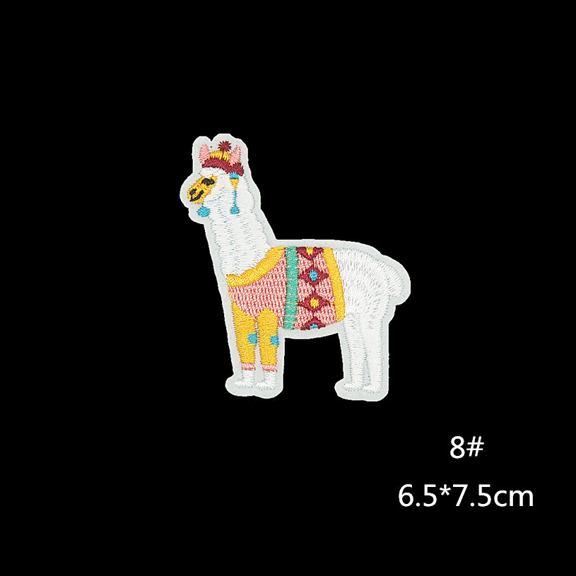 Animal Cartoon Alpaca Fabric Patch Embroidered Iron On Patches For Clothing DIY Decoration Clothes Stickers Applique Badge in Patches from Home Garden
