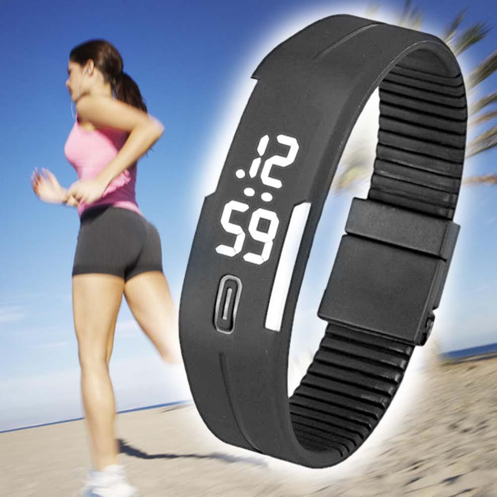 Men Rubber LED Waterproof Watch Date Bracelet Digital Sport Wristwatch BlackW
