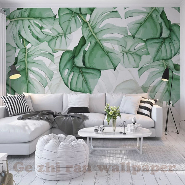 custom 3d mural wallpapers hand painted green leaves wallpapercustom 3d mural wallpapers hand painted green leaves wallpaper living room bedroom tv background wallpaper home decor