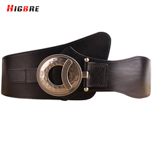 New Fashion High Quality Genuine Leather Women Wide Belt Cummerbunds Female Elastic Wide Belt For Women Dress Accessories Brown