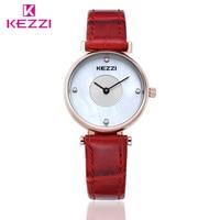 KEZZI Top Brand Female Watches 5 Fashion Colors Leather Women Elegant Gold Case Quartz Watch Lady