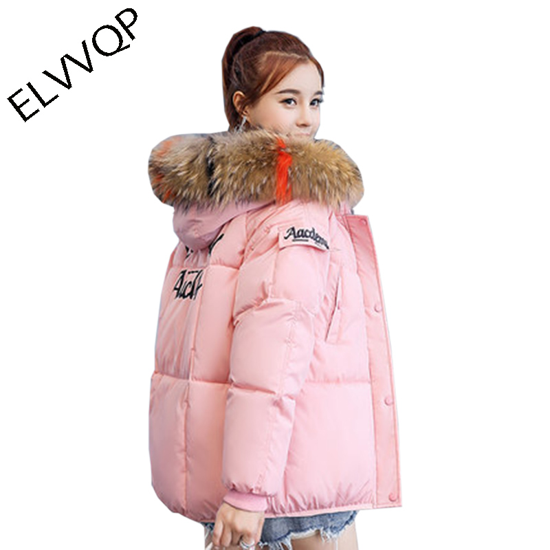 Autumn Winter cotton Jacket Women 2018 New fashion Fur Collar Thicken Warm   Parka   Hooded padded Casual coat casaco feminino LF859