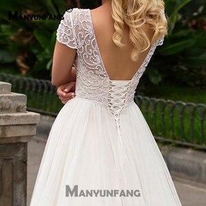 Image 5 - Cap Sleeves 2019 Scoop Lace Applique A Line Simple Wedding Dresses Tulle Boho Bridal Gown vestido de noiva Long Train trouwkleed