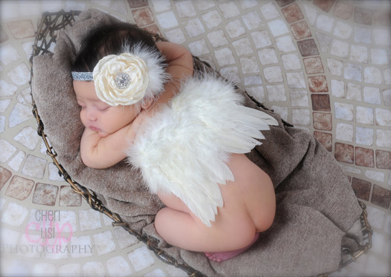 baby girl flower Angel feather wings hair headband photo shoot kawaii hair accessories for newborns head band Photography props