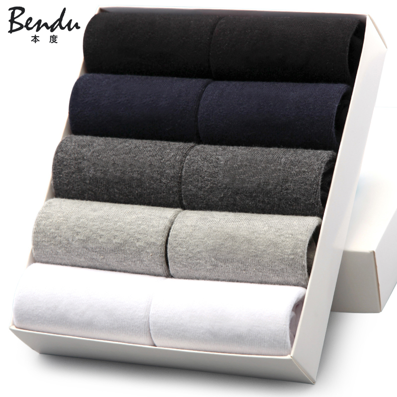 Miesten puuvilla miehistön sukat Bendu-tuotemerkki takaa antibakteerisen mukavan deodorantin hengittävän liikemiehen sukan (10 paria / erä)