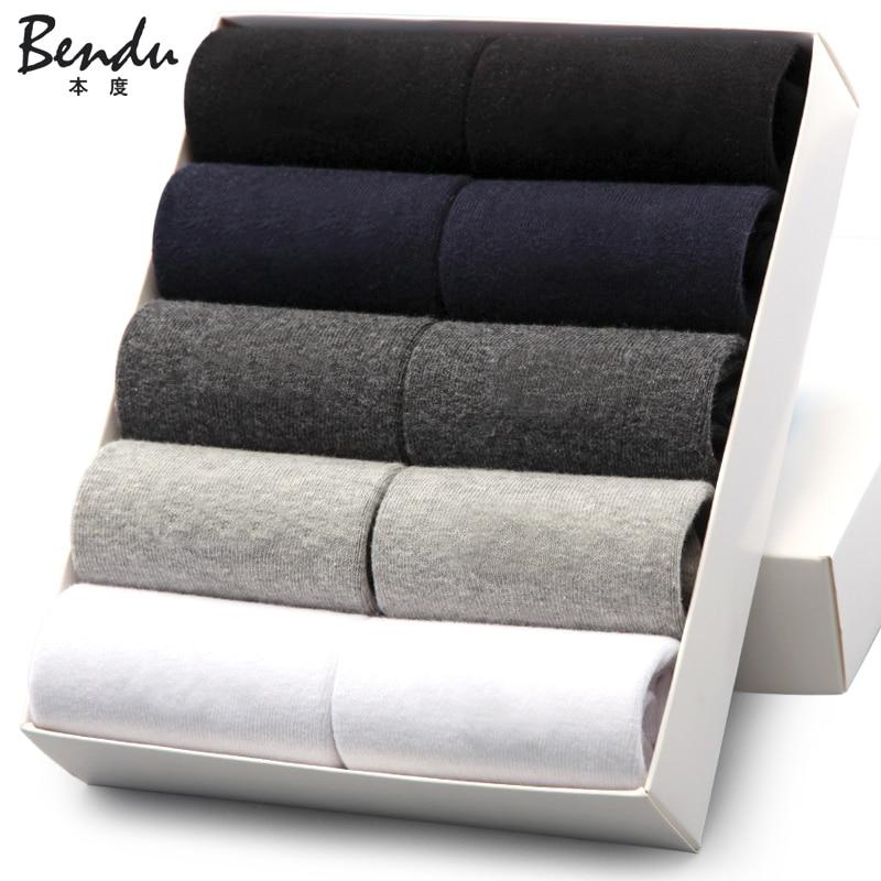 Men Cotton Crew Socks Bendu Brand Guarantee Anti-Bacterial Comfortable Deodorant Breathable Business Man Sock (10 Pairs / Lot)