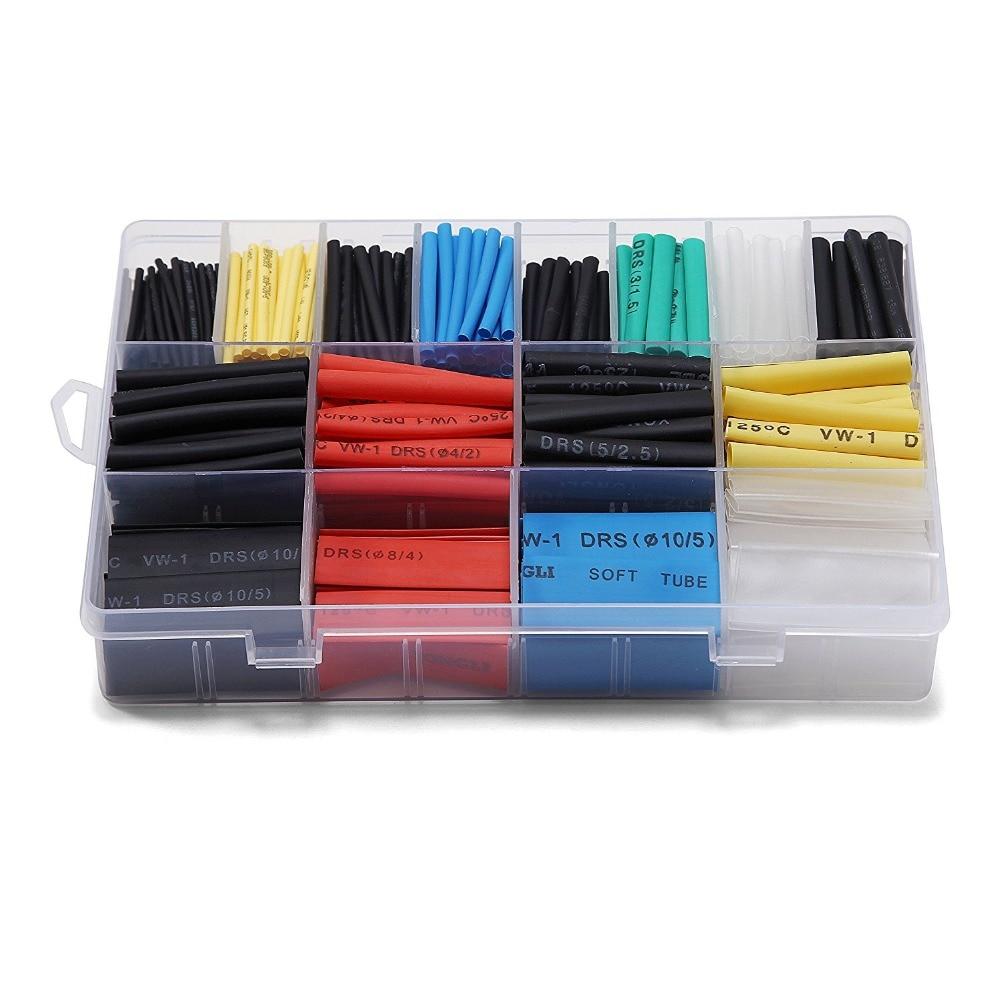 6 Colors 590PCS Polyolefin 2:1 Halogen-Free Heat Shrink Tubing Tube Assortment Sleeving Wrap Tubes