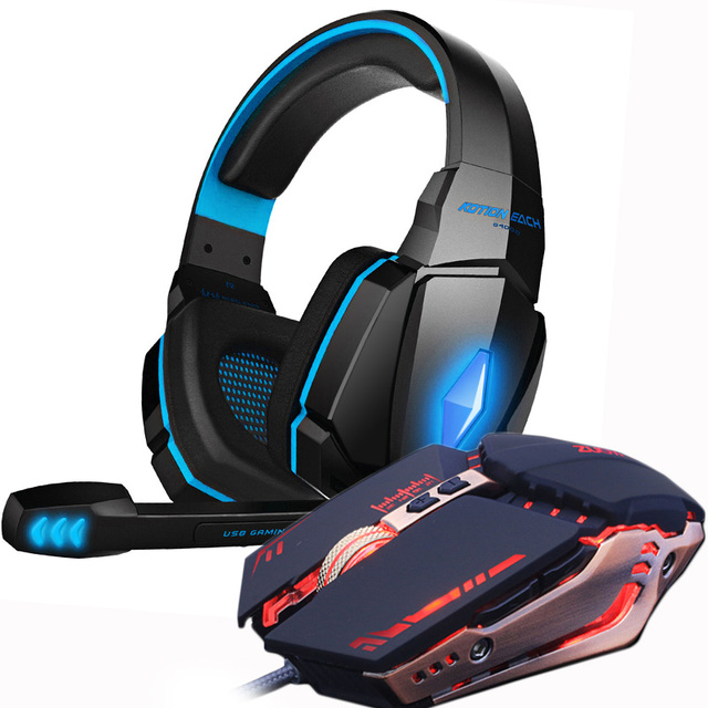 Gaming Headset and Gaming Mouse 4000 DPI Adjustable Stereo Gamer Earphone Headphones 3