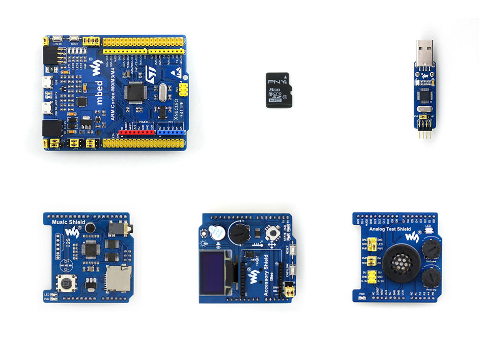 XNUCLEO-F411RE Package B=Supports Leonardo,STM32 Nucleo, NUCLEO-F411RE onboard Cortex-M4 STM32 Board+ST-LINK/V2 (mini)+8 modules modules music shield development board for leonardo nucleo xnucleo audio play record vs1053b onboard