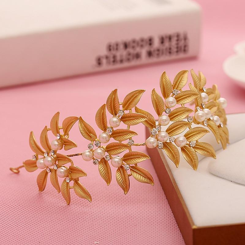 Soft Chain Gold Leaf Pearl Bridal Hair Accessoreis Bridal Crystal Headbands Wedding Hair Crown Bride Hair Jewelry Accessories