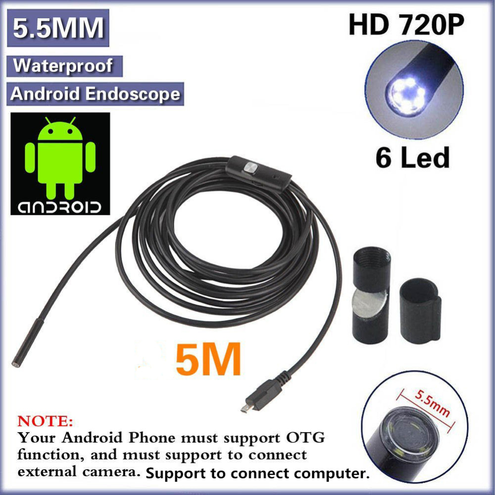 Tamehome 5M 16FT 5 5mm 6 LED 720P HD Android USB Endoscope