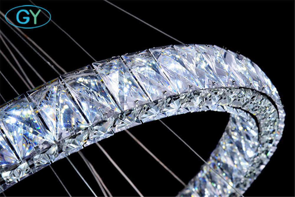Modern rings led lustres chandeliers chrome mirror finish