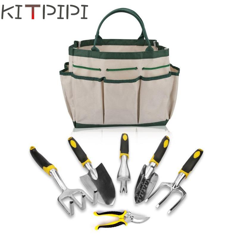 6PCS/Set Gardening Tool Set for Digging Planting Gardening Kit with Heavy Duty Cast-aluminum Heads & Ergonomic Handles gardening tool manual weeder