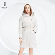 Basic Editions Women Anutumn Winter Slim Fit Styled Down Jacket Belt Zipper and Hood – 14W-05