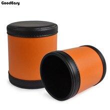 Модный оранжевый кожаный стакан для игральных костей пластик с 6 шт Акриловые Игральные Кости многогранные кости Кубок покер питьевой доски игра азартные игры коробка с кубиками