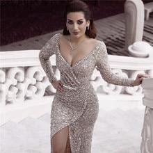 Dubai Luxus Silber Sequine Diamant Abendkleider 2020 Lange Ärmeln Sparkle Sexy Abendkleider Ruhigen Hill LA60856