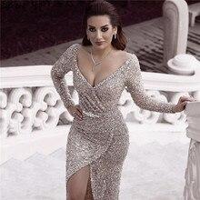 Serenhill robe de soirée argentée et Sexy, luxueuse tenue de soirée, manches longues, paillettes, pierreries, style dubaï, LA60856, 2020
