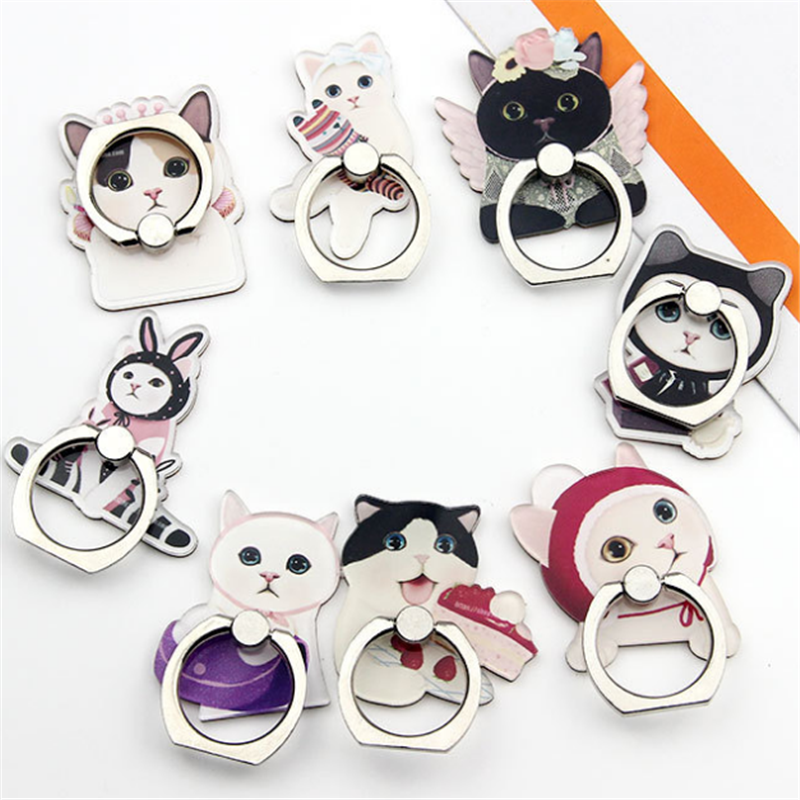 360 Degree Cute Cat Painted Finger Ring Holder For Smartphone Phone Stand Holder Mobile Phone Holder Stand For IPhone All Phone