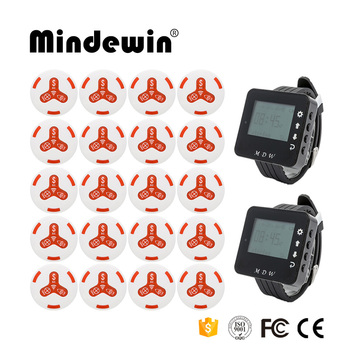 Mindewin Restaurant Pager Calling System Watch 2PCS Watch Pager M-W-1 and 20PCS Table Call Bells M-K-3 Wireless Paging S