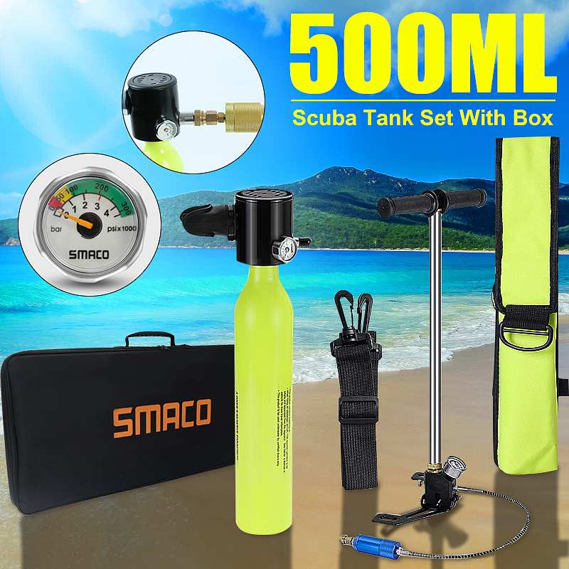 With Tutorial 0.5L Mini Scuba Oxygen Cylinder Air Tank Diving Equipment For Snorkeling Underwater Breathing With Pump Respirator