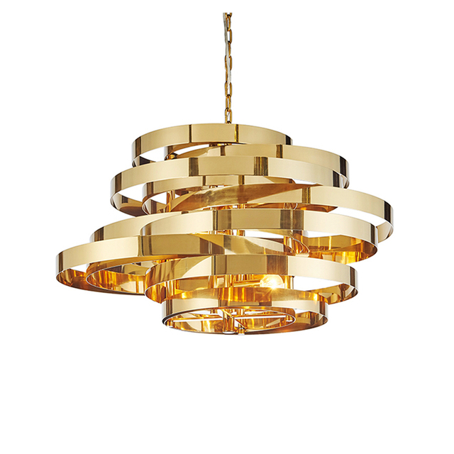 Post Modern Art Deco Tornado Led Pendant Light Stainless Plating Gold Circle Deisgn Droplight 5pcs