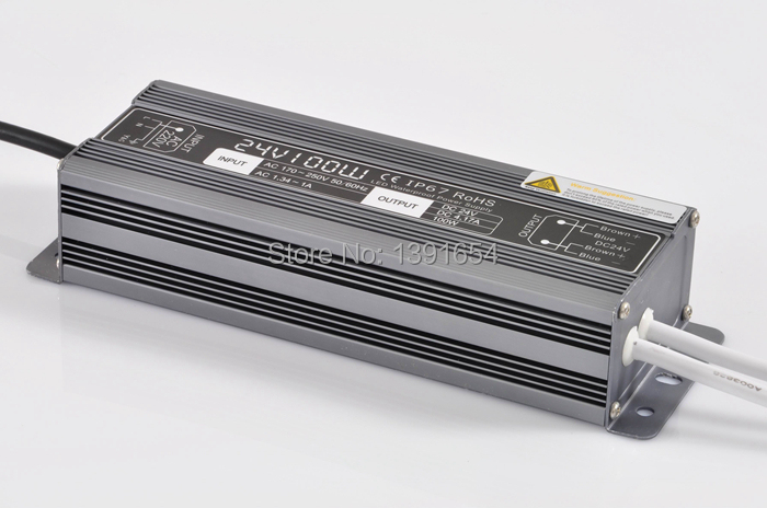 IP67 DC24V 4.2A 100W Aluminium Power Supply Waterproof LED Driver , LED Light Transformer Free Shipping  free shipping 5pcs lot 150w hot selling ac90 250v to dc12v or dc24v transformer ip67 waterproof led driver power supply