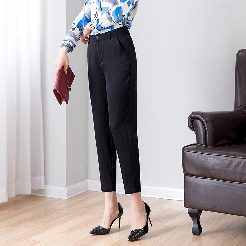 natural silk harem pants women 2019 new summer black real silk elegant noble rank trousers women
