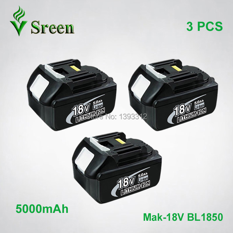 3PCS Sreen 5000mAh Rechargeable Lithium Ion Power Tool Battery Replacement for Makita 18V BL1830 BL1840 194205-3 LXT400 BL1850 sreen rechargeable lithium ion battery 6000mah replacement for makita 18v bl1850 bl1840 bl1830 bl1860 lxt400 power tool battery