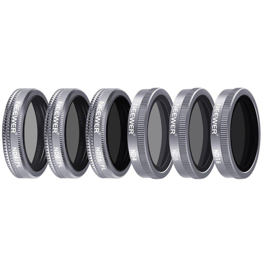 Neewer 6 штук объектива фильтр затвора фильтр комплект для DJI Mavic 2 зум, включает в себя несколько покрытием ND4 ND8 ND16 ND4/PL ND8/PL ND16/PLl