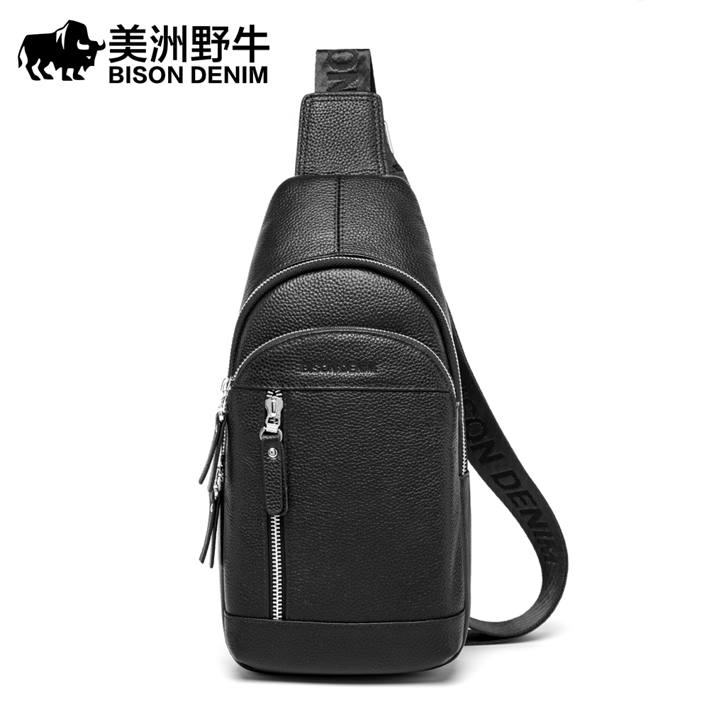 BISON DENIM Genuine Leather Crossbody Bag Waterproof Mens Bags Small Single Shoulder Strap Chest Pack Leather Travel Bag N2820BISON DENIM Genuine Leather Crossbody Bag Waterproof Mens Bags Small Single Shoulder Strap Chest Pack Leather Travel Bag N2820