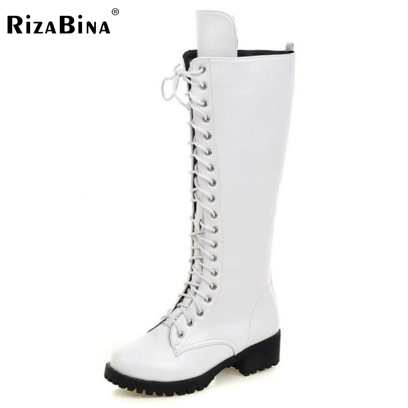 ФОТО RizaBina Brand  Women Square Low Heel Riding Motorcycle Heel Knee High Boots Punk Gothic Platform Lace Up Shoes Size34-43
