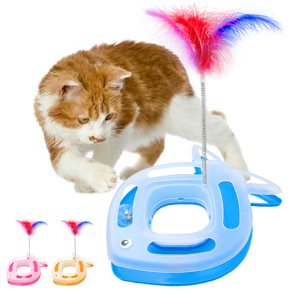 Funny Pet Cat Toys Elastic Feather Scratching Teaser Toy For Cat Interactive Kitten Playing Ball Bell Toy Pet Cat Products