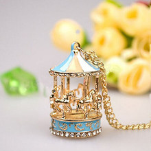 Sweet Enamel Carousel Merry Go Round Horse Charm Pendant Sweater Chain Necklace(China)