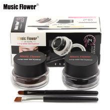 Музыкальный цветок 2 в 1 коричневая/Черная Подводка для глаз гелевый крем стойкий макияж водостойкий устойчивый к пятнам косметический набо...