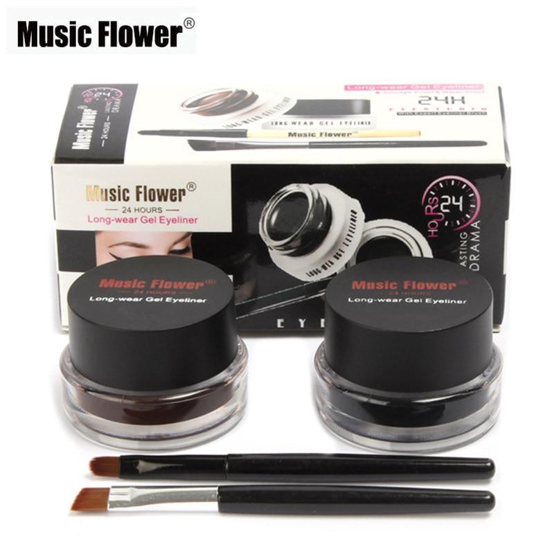 Muziek Bloem 2 In1 Bruin/Zwarte Eyeliner Gel Crème Blijvende Make Up Waterdicht Smudge-Proof Cosmetica Set Eye liner + Borstels