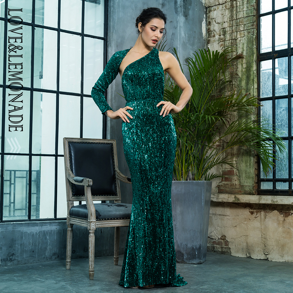 Love Lemonade Open Back Separate Sleeve Elastic Sequins Long Dress LM81333 1