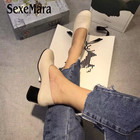SexeMara Women Pumps Pure color High Heel Women Shoes Ladies handmade Square heel Genuine Leather Sandals Woman shoes