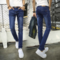 2016 cheap jeans male Korean stretch slim jeans men pants tide blue slim fit pencil feet jeans size 27-36