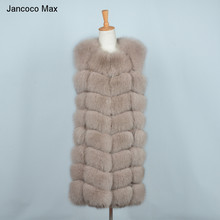 Jancoco Max 2019 New High Quality Real Fox Fur Vests Women Fashion Gilets Thick Warm Winter Coats S7251