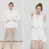 2019 Summer New Korean Star with The Same Paragraph Fashion Thin Section White Short Paragraph Small Suit Suit Female